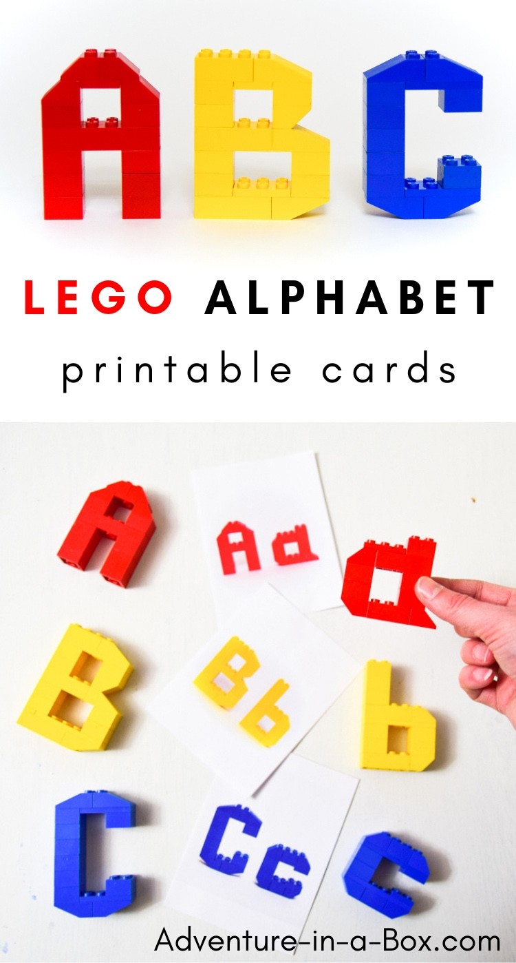 Combine early literacy with STEM and teach the alphabet in a playful hands-on way with these printable LEGO challenge cards! #homeschool #alphabet #preschool #kindergarten #lego #stem