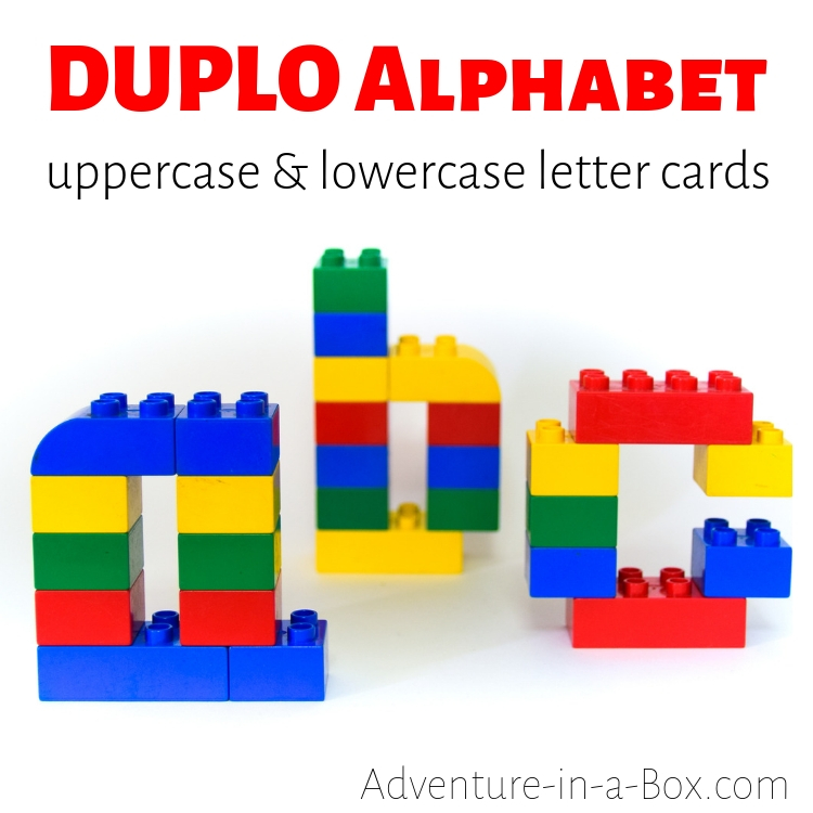 Build the alphabet with Duplo bricks, using these printable Lego Duplo Alphabet Mats with uppercase and lowercase letter designs!