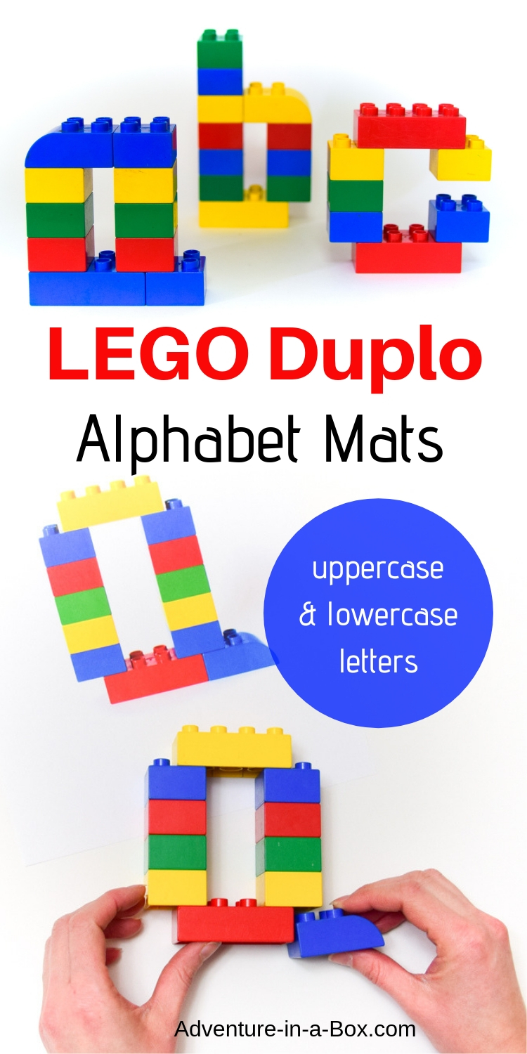 Build the alphabet with Duplo bricks, using these printable Lego Duplo Alphabet Mats with uppercase and lowercase letter designs! #alphabet #lego #stemforkids #homeschool #preschool #kindergarten