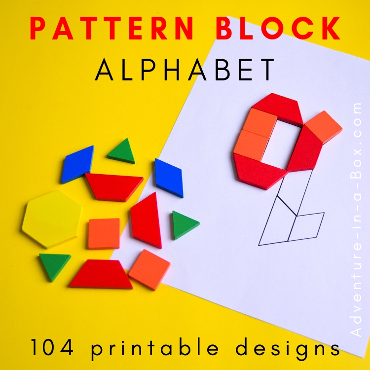 Pattern Block Alphabet Printable Challenge Cards