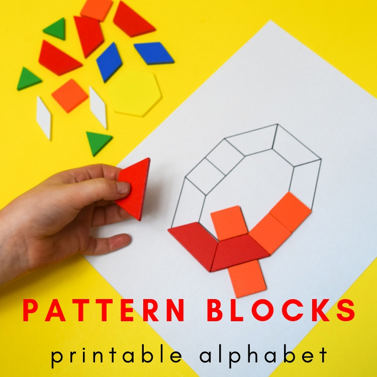 picture relating to Printable Pattern Block titled Practice Block Alphabet Printable Playing cards