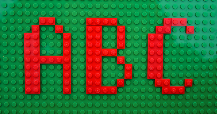 LEGO Alphabet built with printable LEGO cards