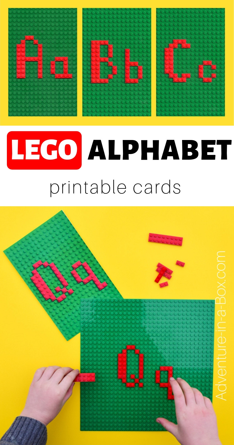 Teach your children the alphabet in a playful hands-on way with the printable LEGO alphabet cards! #homeschool #homeschooling #lego #legoideas #alphabet