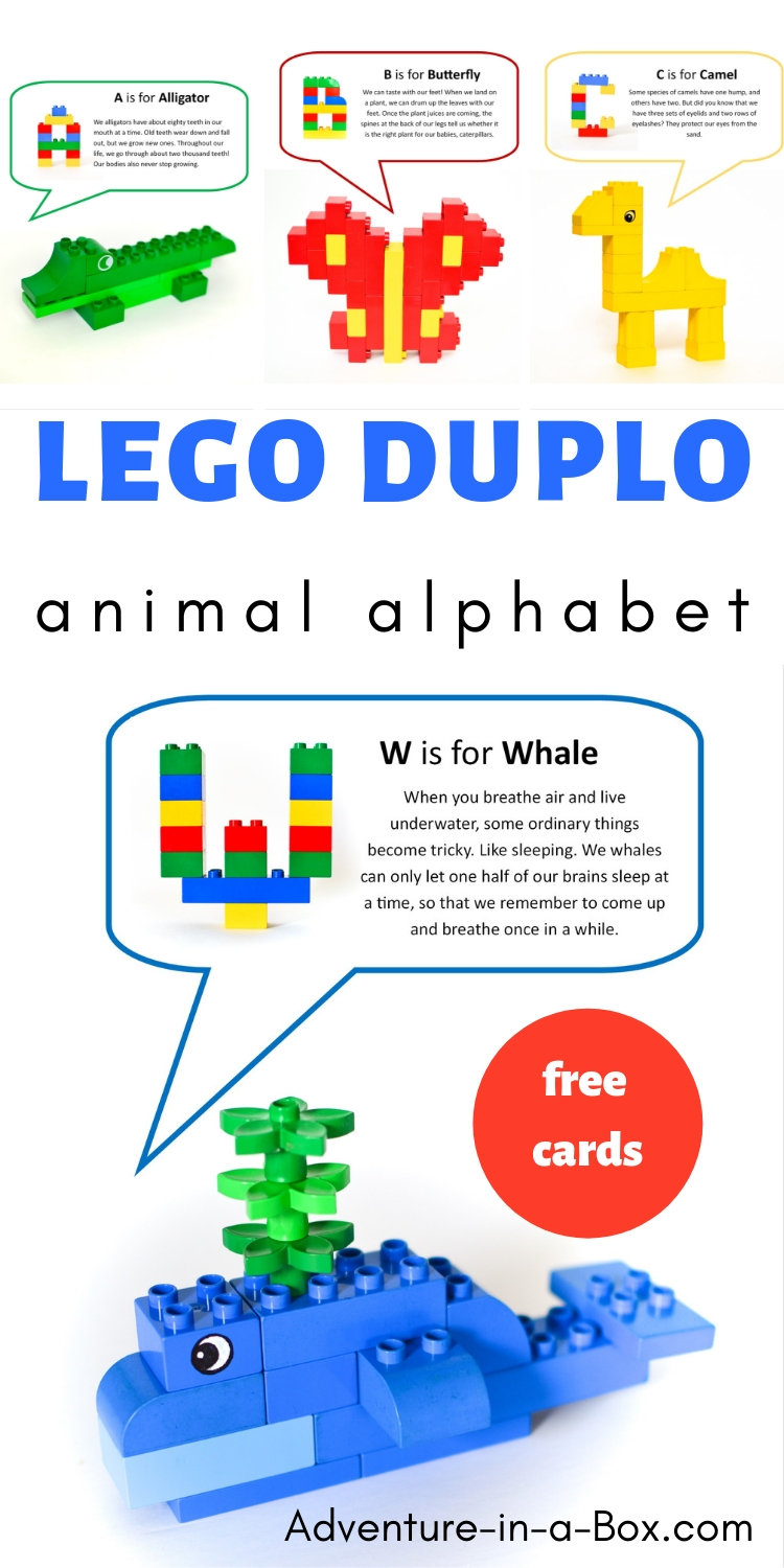 Use Lego Duplo to build animals while learning the alphabet! Included are 26 free printable cards with ideas of animal and letter designs.