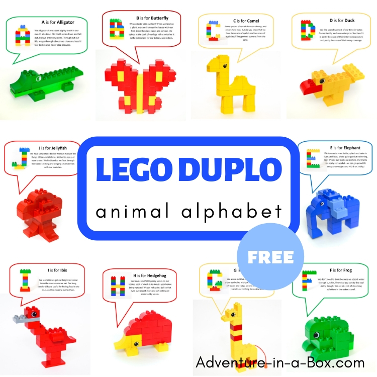 graphic relating to Printable Letter Cards referred to as Lego Duplo Animal Alphabet with Cost-free Printable Playing cards