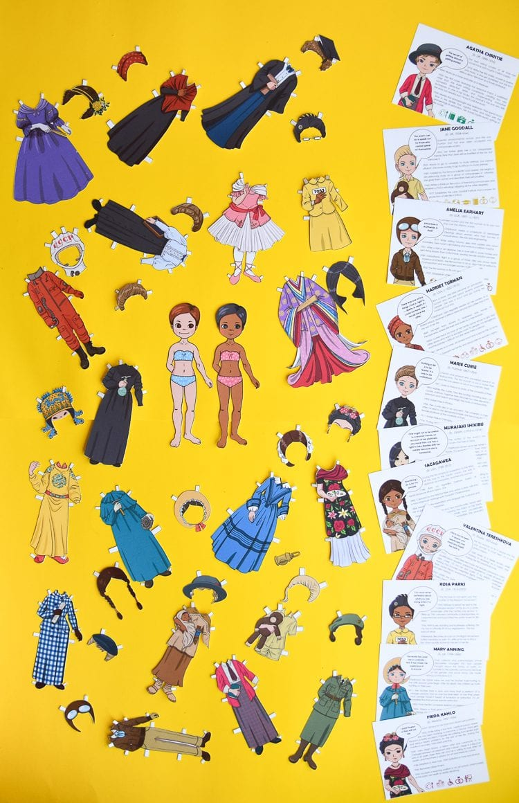 Famous women in history: 20 paper doll templates and information cards