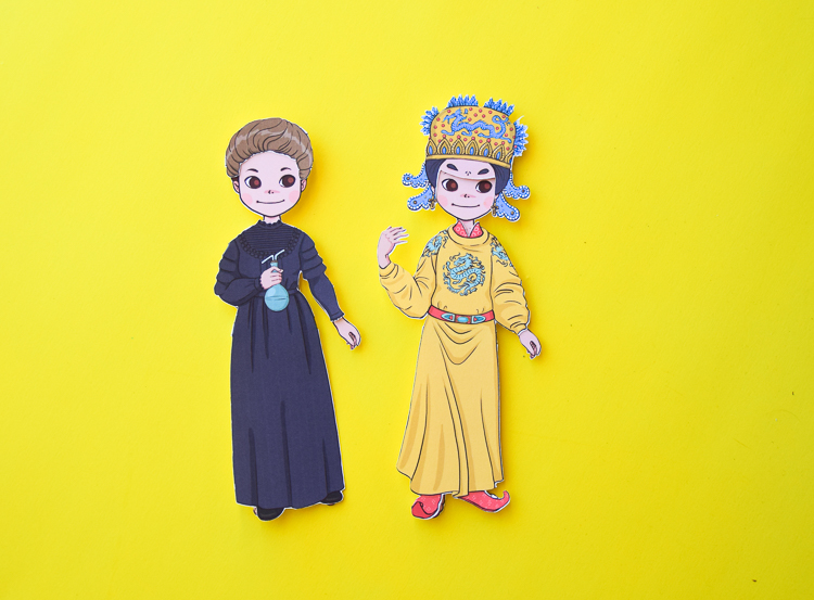 Famous Women in History: Marie Curie and Wu Zetian paper dolls