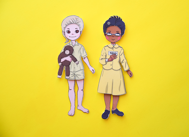 Famous Women in History: Jane Goodall and Rosa Parks paper dolls