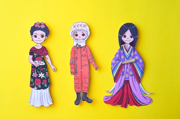 Frida Kahlo, Valentina Tereshkova and Murasaki Shikibu paper dolls