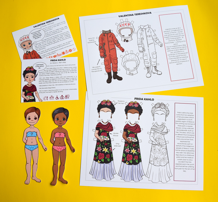 Printable paper doll templates of famous women - Frida Kahlo and Valentina Tereshkova