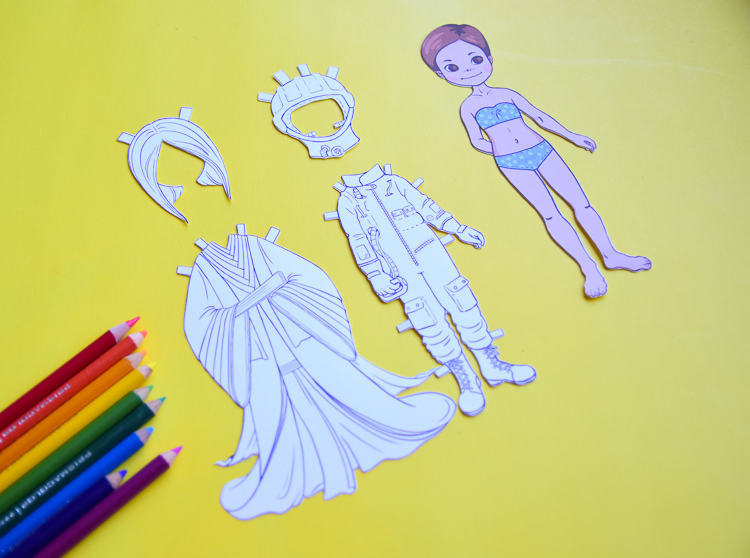Colouring pages of famous women costumes