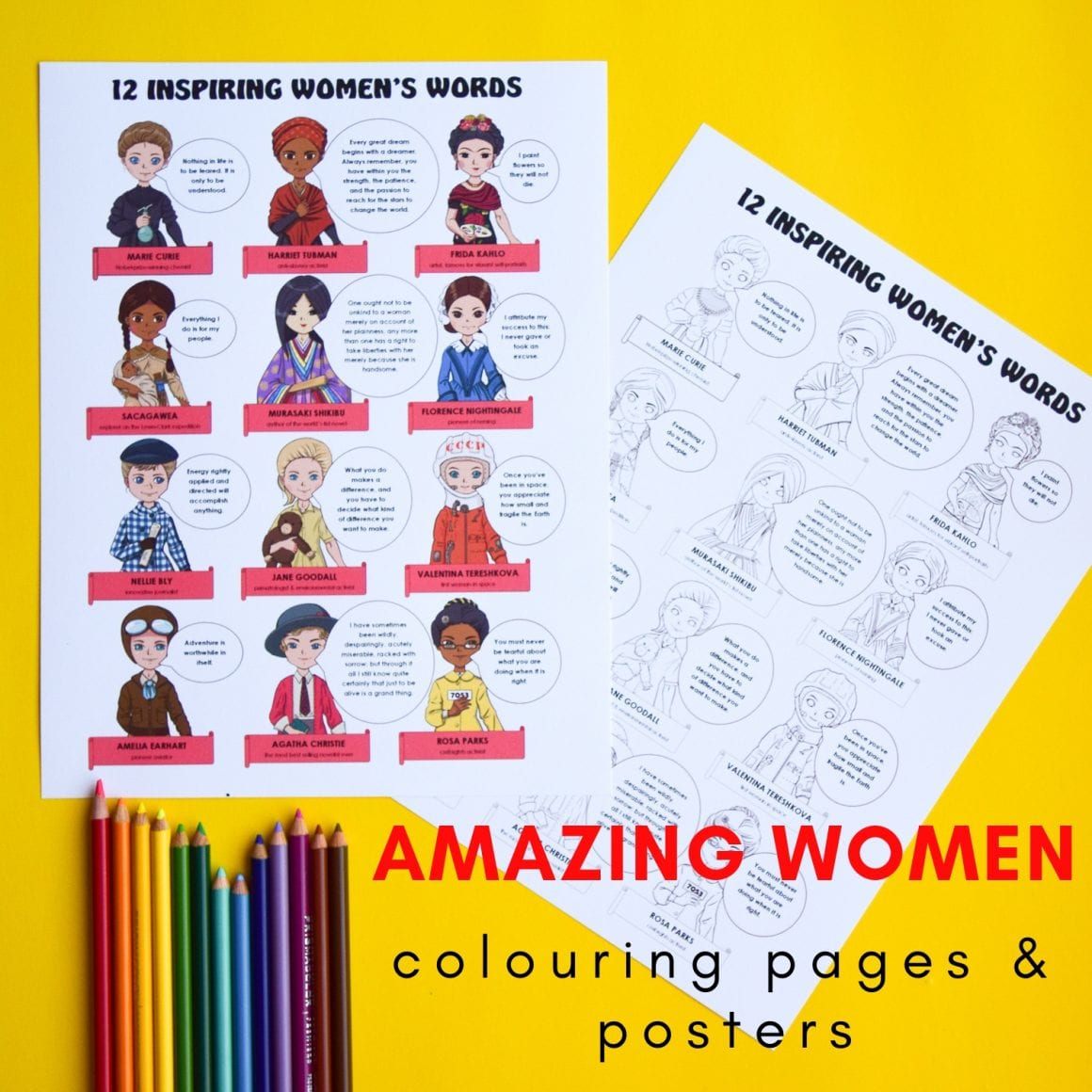 Famous women colouring pages