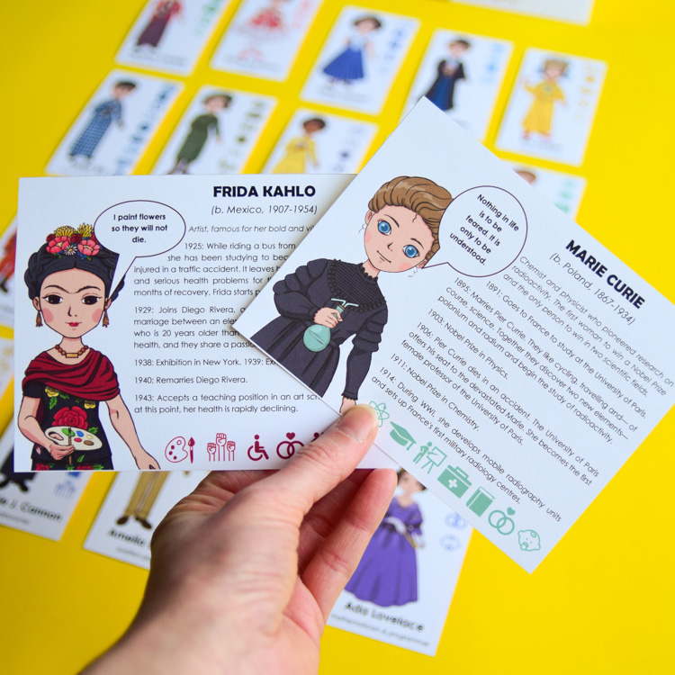 Frida Kahlo and Marie Curie: Biography Card for Famous Women Guess Who Game