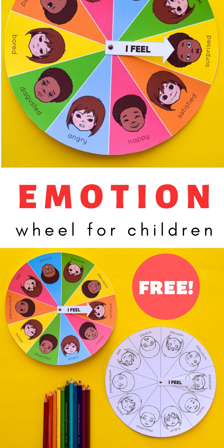 Help children learn about emotions and track their moods with this free printable mood & emotion wheel! #homeschool #freeprintable #preschool #grade1