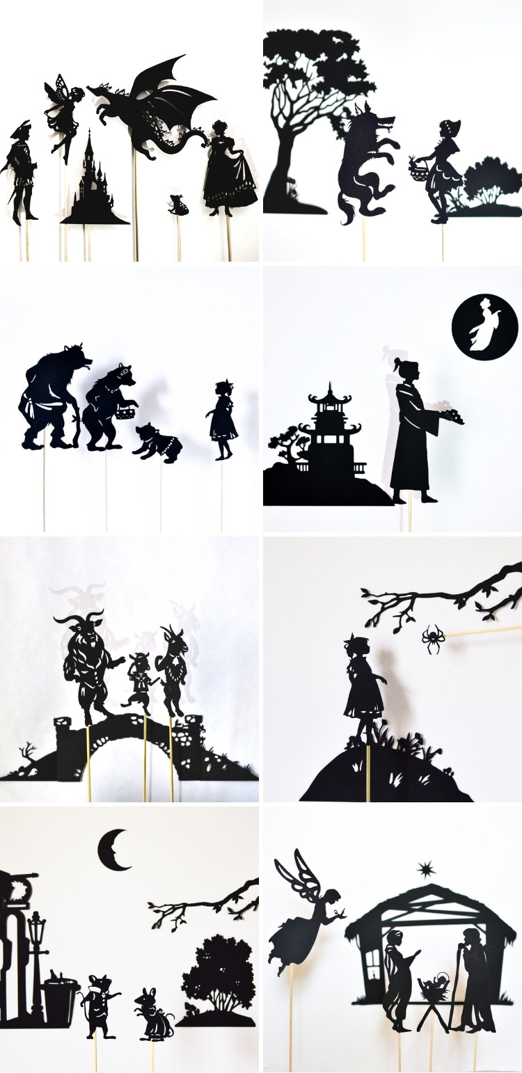 A collection of printable shadow puppets for children - make them with scissors or with Cricut/Silhouette Cameo machines!