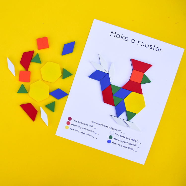 Rooster: Free Pattern Block Design Ideas