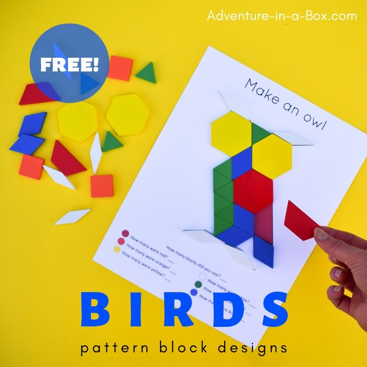 Get the free printable pack of bird pattern block designs for STEM centres in your preschool and kindergarten!