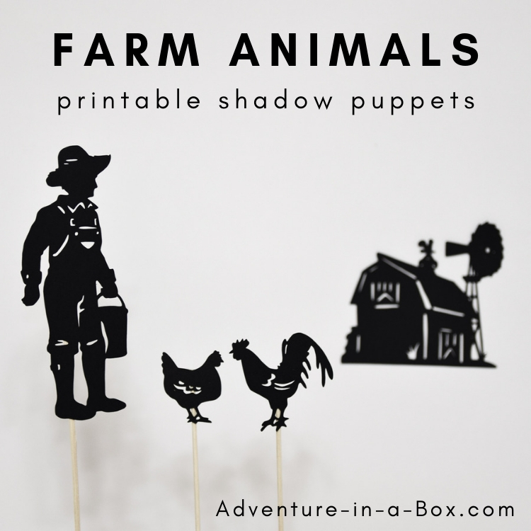 graphic relating to Animals Printable named Farm Pets Printable Shadow Puppets