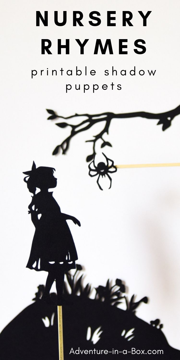 Use these printable shadow puppets to stage a shadow puppet play for children, based on famous nursery rhymes! #homeschool #preschool #literacy