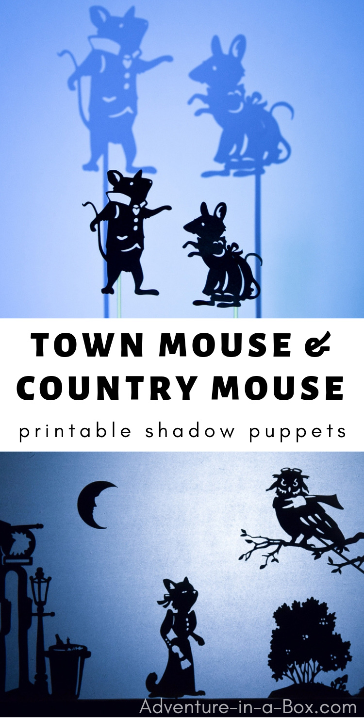 Using these printable shadow puppets for children, you can stage a shadow puppet play, based on the popular fairy-tale The Town Mouse and the Country Mouse!