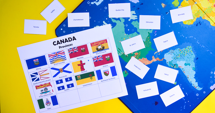 Canada: Provinces, Capitals and Flags - Printable Learning ... on states map game, middle east map game, south america map game,
