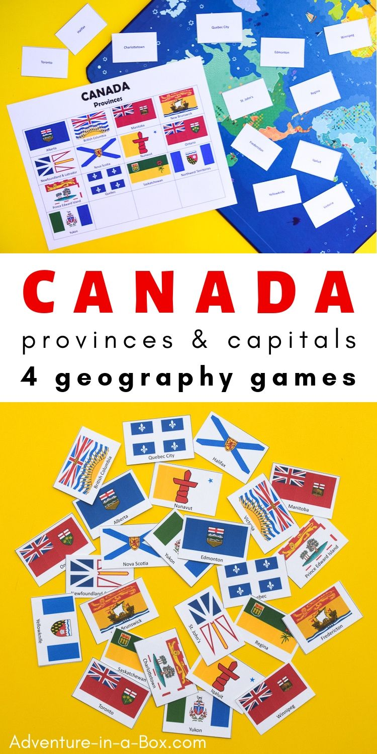 These printable game are designed to encourage children to learn about the Canadian provinces, their flags and capital cities. #canada #homeschool #homeschooling #printable #boardgames #teaching #geography