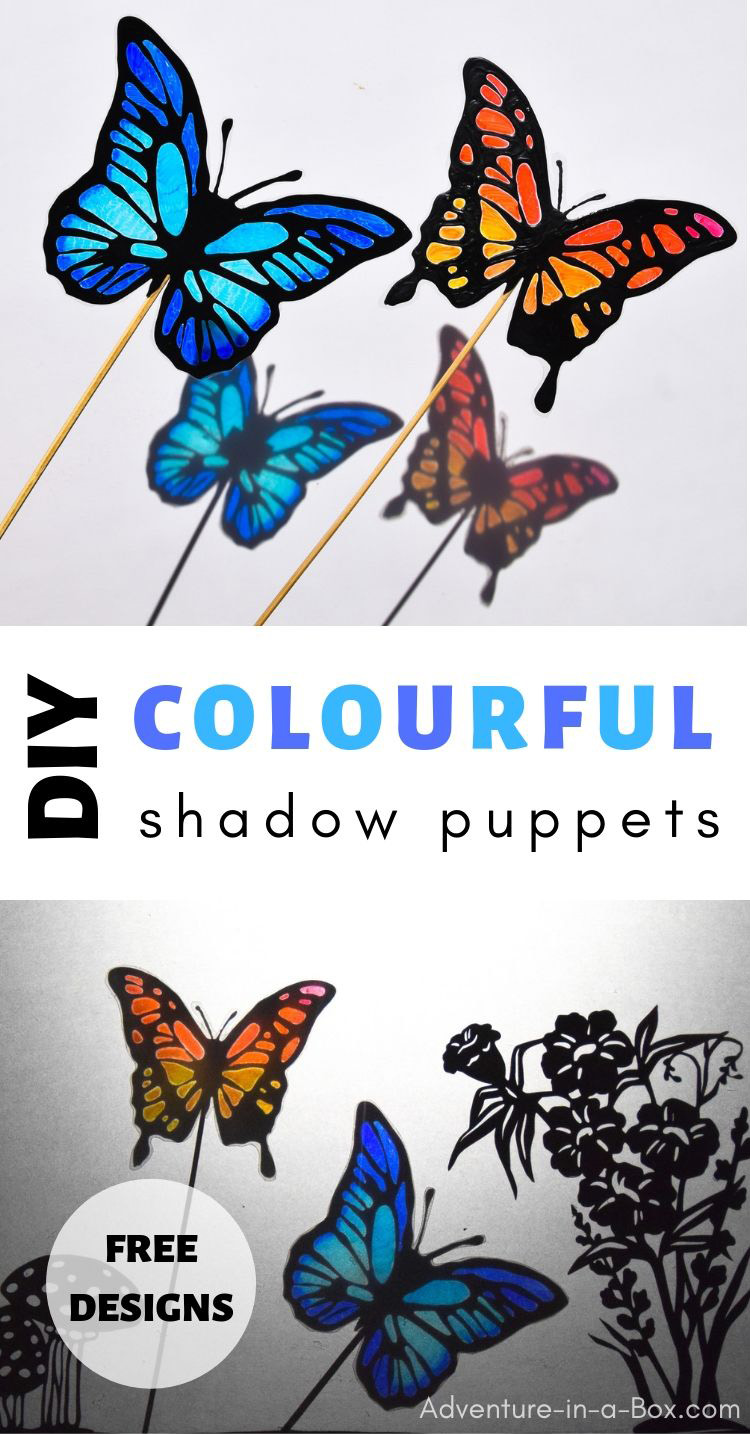 Learn an easy way to make colourful shadow puppets with kids! Making a set of vibrant butterfly shadow puppets and playing with light and shadows will be a great summer STEM project. #STEM #STEMactivities #shadowpuppets