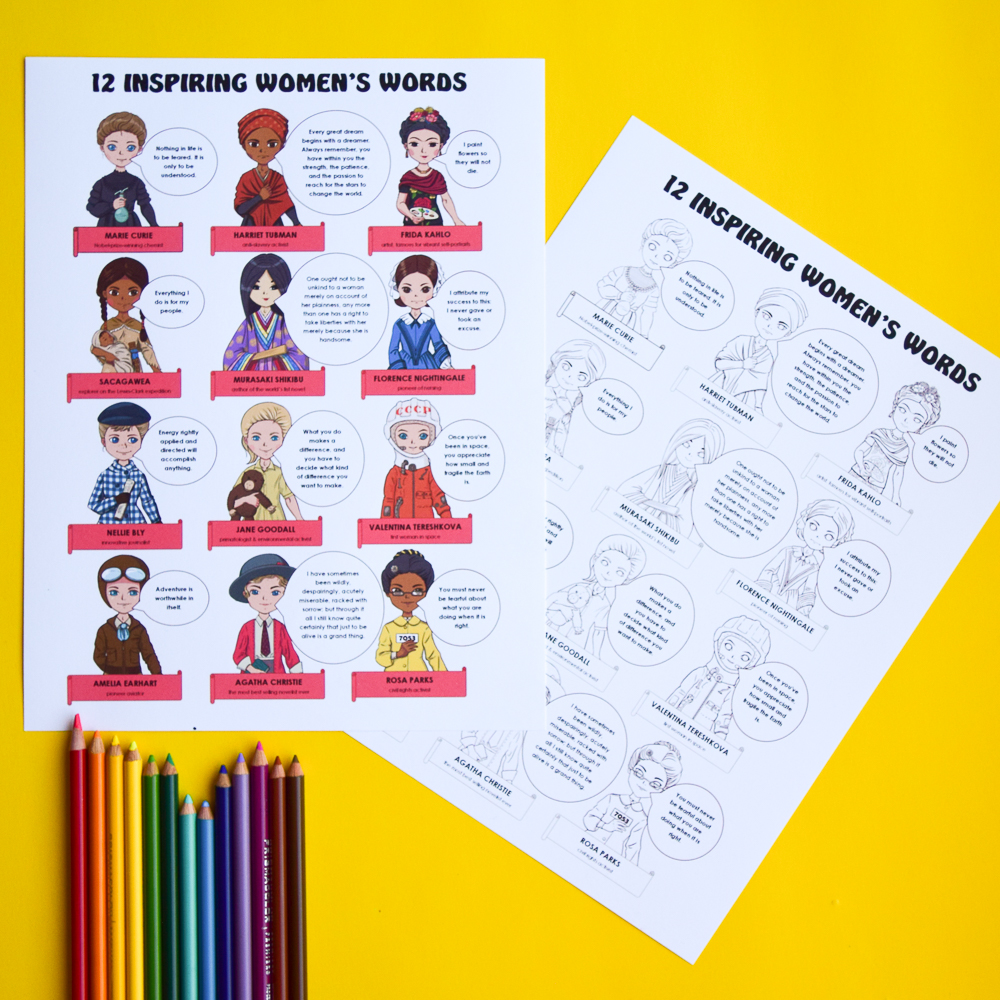Famous Women in History: Free Poster and Colouring Page