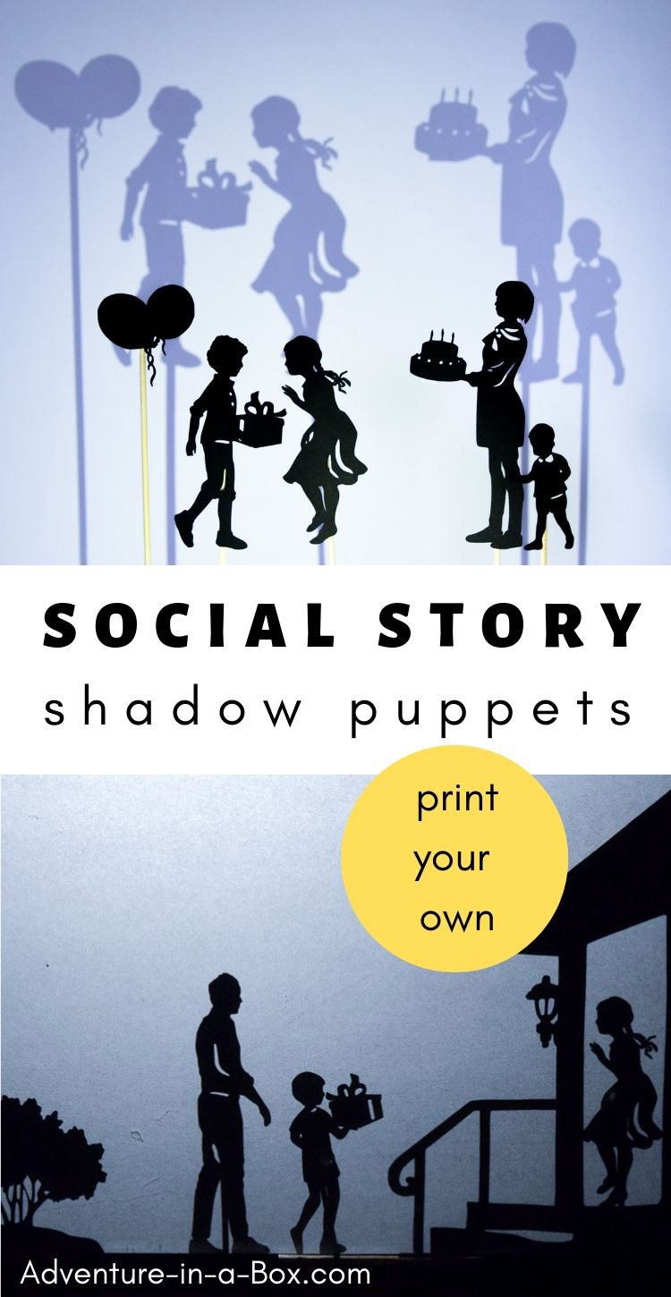 Prepare children for new social experiences by making social stories and acting them out with shadow puppets! #speechtherapy #shadowpuppets #socialstory #socialeducation