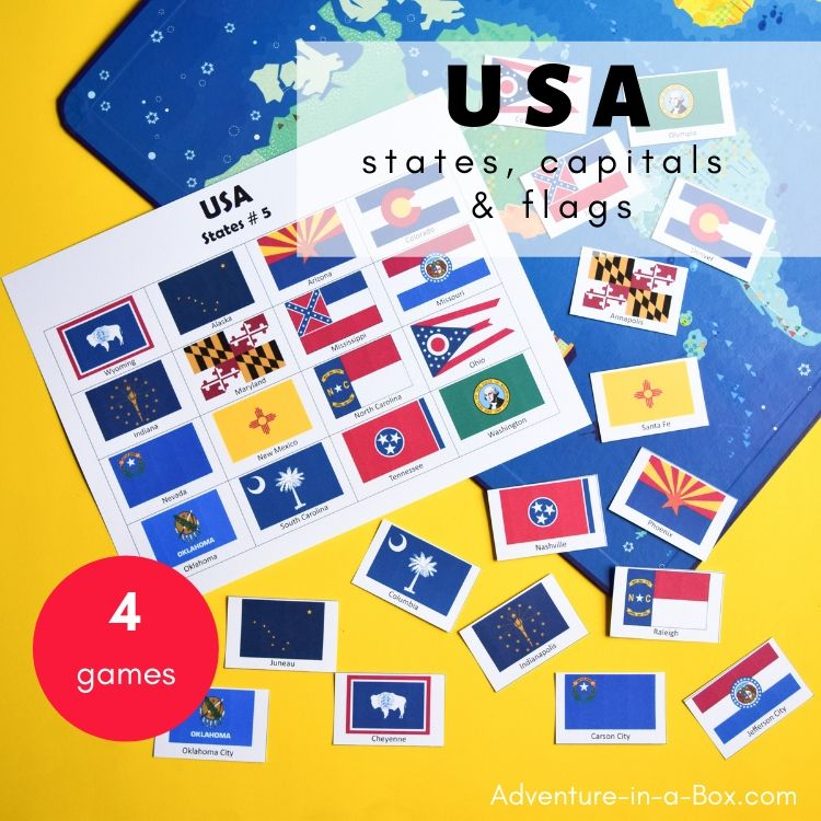 photograph about Memory Games Printable identify United states: Says, Capitals and Flags - Printable Bingo and Memory