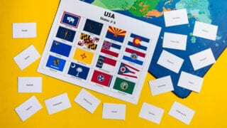 USA States, Capitals and Flags: Bingo and Memory Games