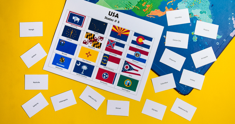 USA: States, Capitals and Flags – Printable Bingo and Memory Games