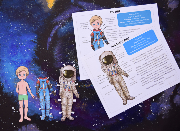 Astronaut paper dolls: Apollo 11 space suits and information sheet