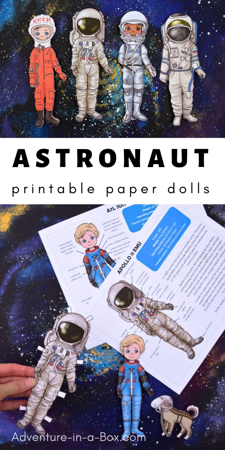 Introduce the history of space exploration to kids by reading about influential space suits and making astronaut paper dolls!