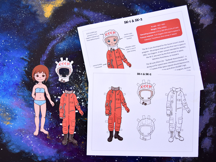 Astronaut paper dolls: SK-1 space suit and information sheet