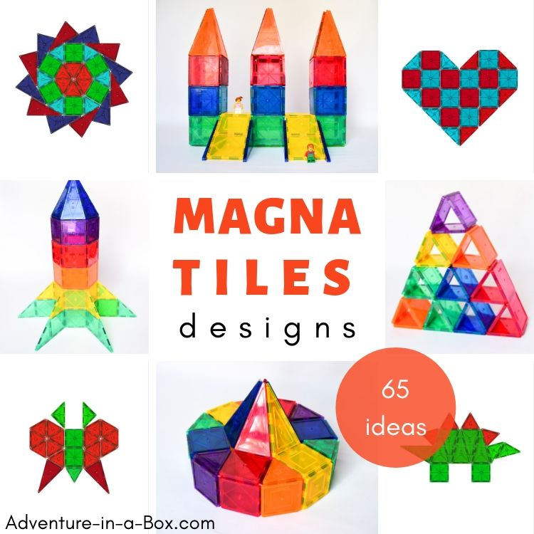 65 Magna Tiles Designs with Printable Cards