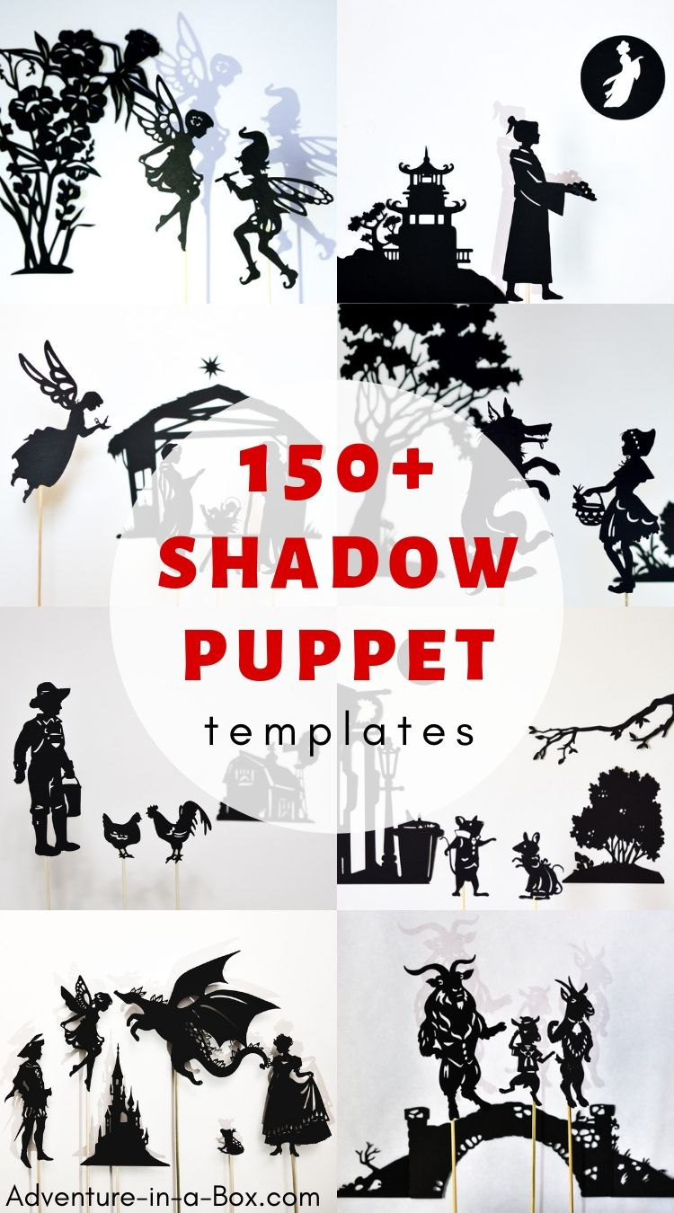 A big collection of shadow puppet templates to print and make - setting up a shadow play at home will be easy and fun! #shadowpuppets #puppets #stemactivities #homeschool #homeschooling