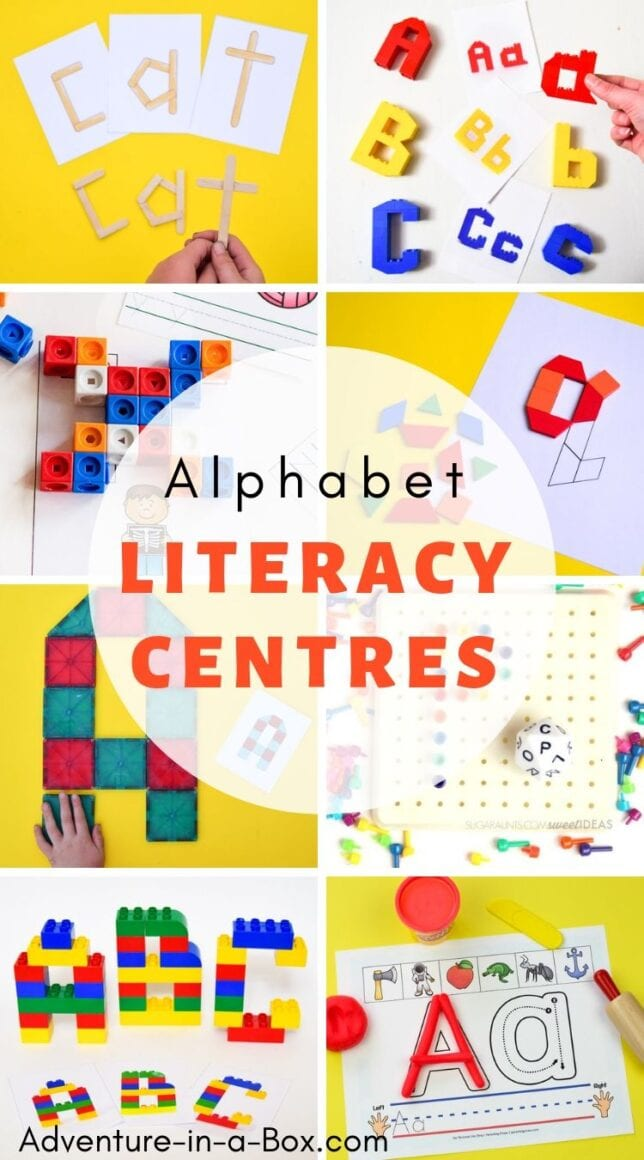 Set up a new literacy centre for kindergarten every two weeks with our selection of alphabet learning activities and printables! #homeschool #kindergarden #homeschooling #preschool #alphabet