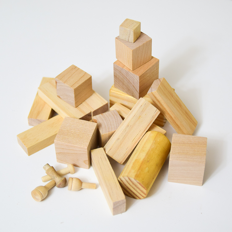 Wooden blocks: materials for making steampunk wooden robots