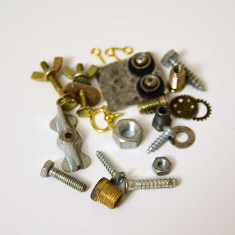 Metal scraps: materials for making steampunk wooden robots
