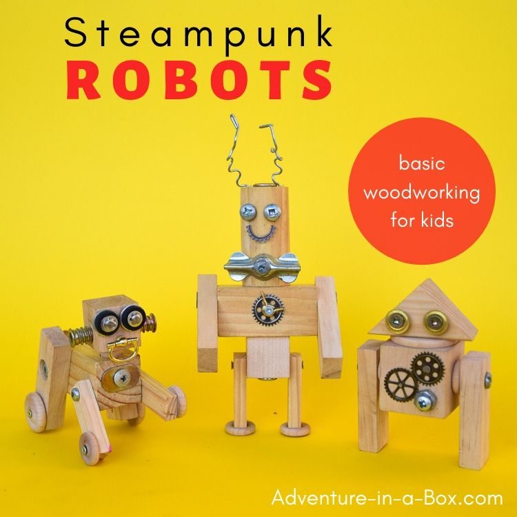 Whimsical steampunk wooden robots - made from wood, screws and metal scraps!