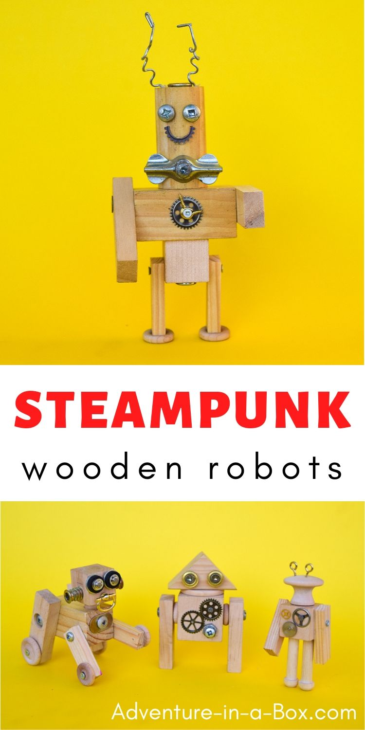 Introduce kids to woodworking by challenging them to create these whimsical steampunk wooden robots - from wood, screws and metal scraps! #woodworking #diytoys #stemactivities #engineeringforkids #homeschool