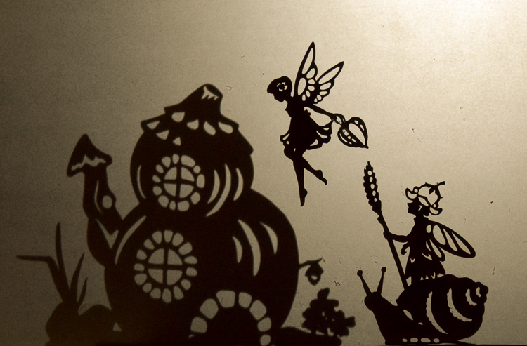 Fairy puppet: two fairy silhouettes