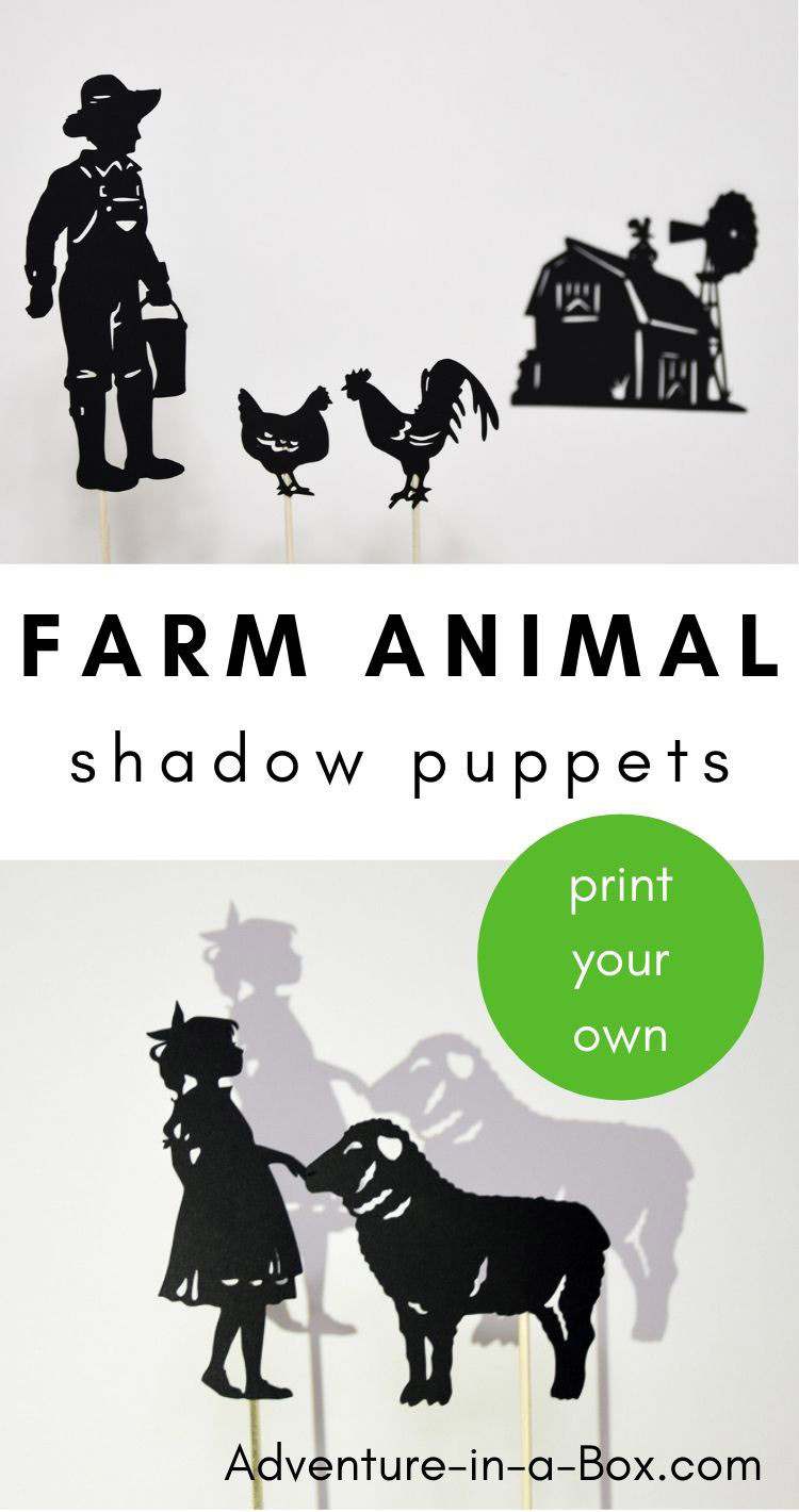Printable farm animal puppets will be sure to give a new twist to familiar songs and nursery rhymes for kids! #shadowpuppets #puppets #diytoys #handmade #kidsactivities #stemactivities