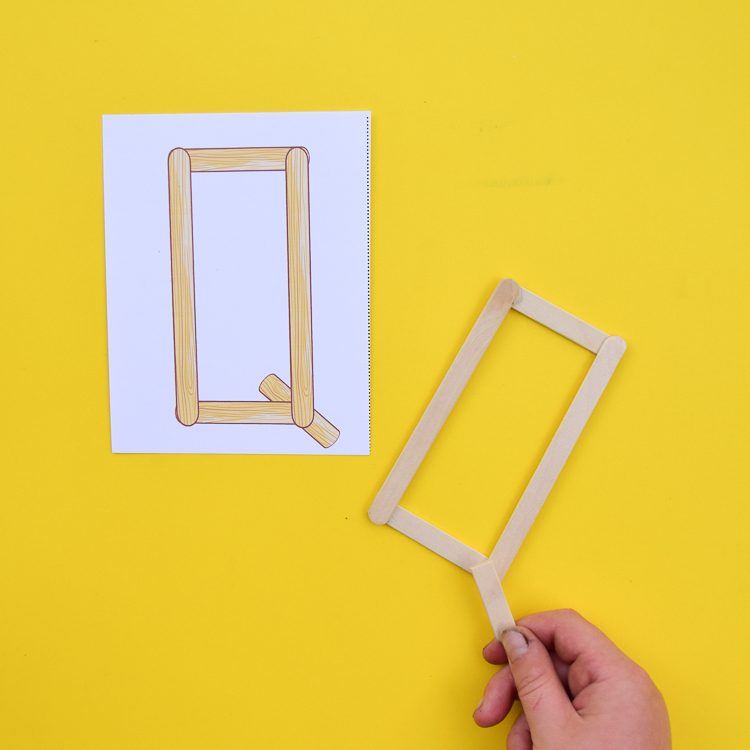 Building a popsicle stick letter - Q!