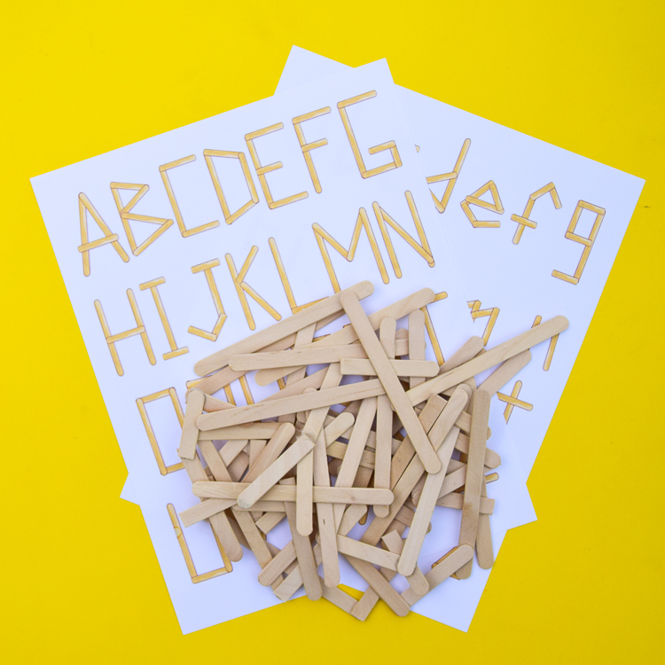 Materials for building popsicle stick alphabet
