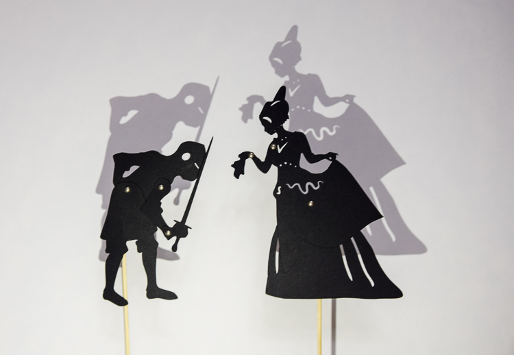 Medieval lady and a knight: shadow puppets