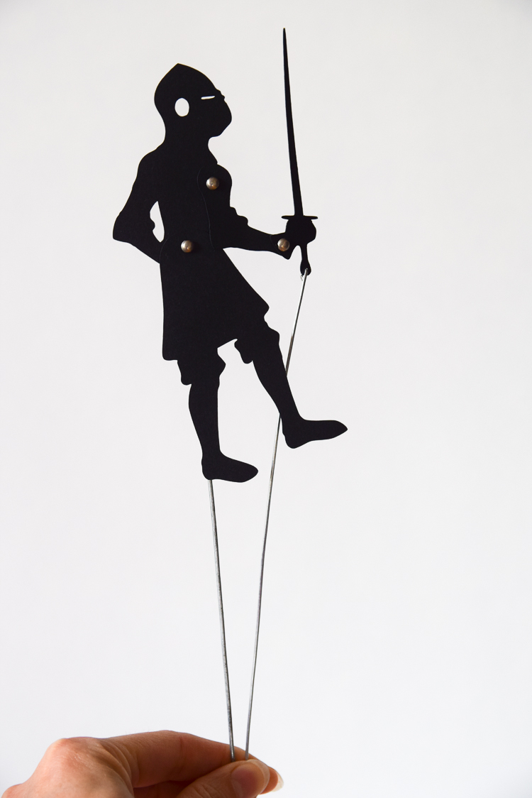 Articulated shadow puppet of a knight