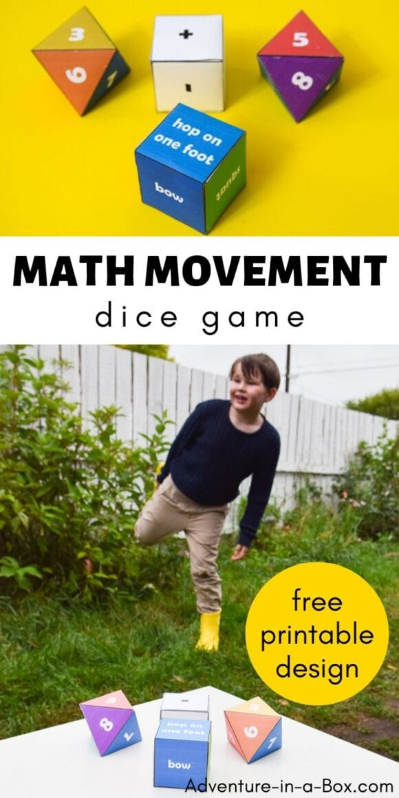 Math Movement Dice turn practicing math into a game! Children can practice their addition and subtraction facts, work on their gross motor skills and have fun at the same time.