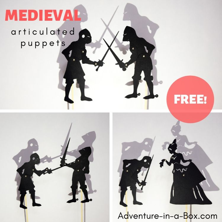 Make articulated puppets of knights and have playful shadow puppet duels for your medieval unit study!